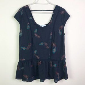 DR2 Tops - DR2 Peplum Scoop Neck Feather Print Blouse